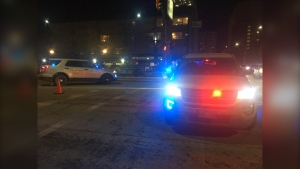 Police have closed a section of Ellice Avenue behind Portage Place. (Source: Beth Macdonell/ CTV News Winnipeg)
