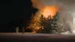 Fire crews spent the majority on Tuesday night battling a major barn fire near Drayton. (Terry Kelly / CTV Kitchener)