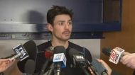 Carey Price answers reporters questions.