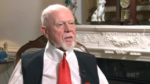 "In an interview with CTV News' Omar Sachedina on Tuesday, Don Cherry said Sportsnet ""absolutely buried"" him with the sudden firing, but added that he wasn't going to apologize for the comments. (CTV)"