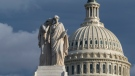 The Capitol is seen as the House is set to begin public impeachment inquiry hearings as lawmakers debate whether to remove U.S. President Donald Trump from office, in Washington, Tuesday, Nov. 12, 2019. At left is the Peace Monument. (AP Photo/J. Scott Applewhite)