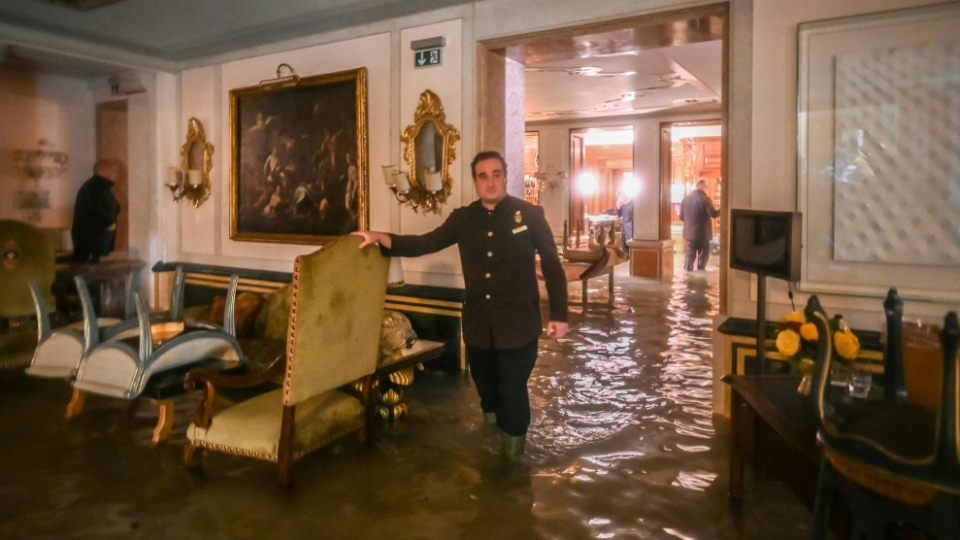 The Gritti Palace hotel was among the buildings hit by the 'Alta Acqua'. AFP