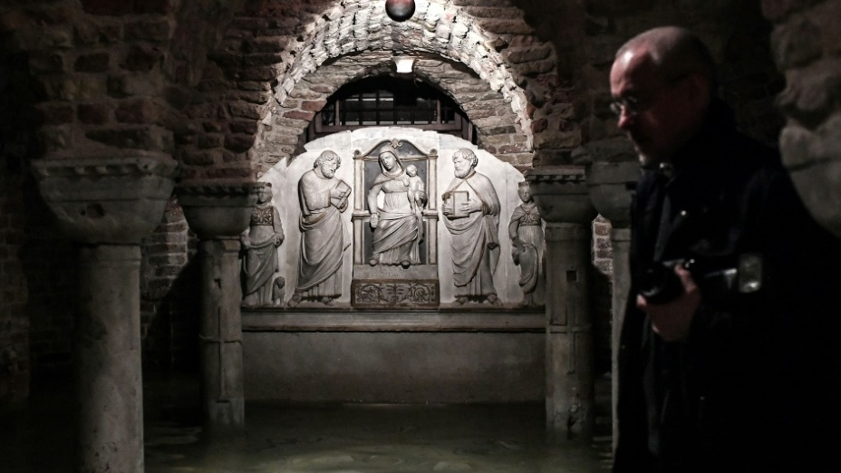 The flooded crypt of St. Mark's Basilica. (AFP)