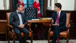Prime Minister Justin Trudeau meets with Bloc Quebecois leader Yves-Francois Blanchet on Parliament Hill in Ottawa on Wednesday, Nov. 13, 2019. THE CANADIAN PRESS/Sean Kilpatrick