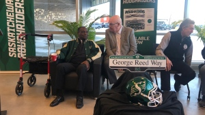 The street in front of Mosaic Stadium has been named George Reed Way (Claire Hanna / CTV News Regina)