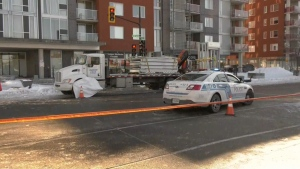 The woman was struck by a truck in St-Leonard.