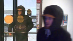 Side-by-side image of a suspect accused of armed robbery at the CIBC on West Street in Orillia on Tues., Nov. 12, 2019. (Supplied)
