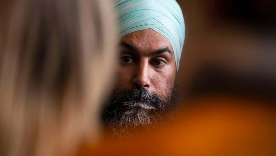 NDP leader Jagmeet Singh listens to a question as he holds a press conference following a meeting with his caucus in Ottawa on Wednesday Oct. 30, 2019. (THE CANADIAN PRESS / Sean Kilpatrick)