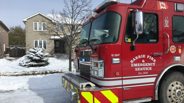 Barrie Fire Department at the scene of a fire in the basement of a home on Honey Crescent on Wed., Nov. 13, 2019 (CTV News Barrie)