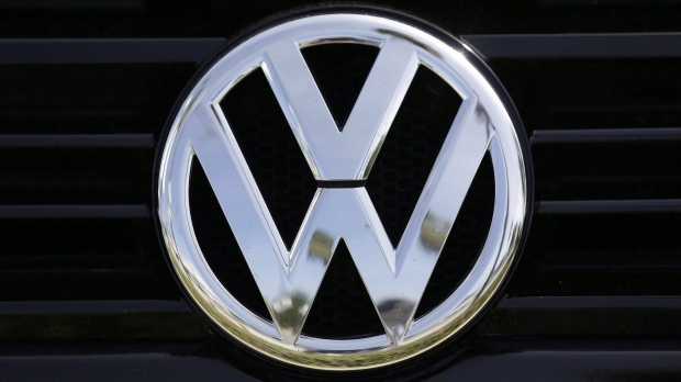 A Volkswagen logo is seen on car offered for sale at New Century Volkswagen dealership in Glendale, Calif., on September 21, 2015. THE CANADIAN PRESS/AP - Damian Dovarganes
