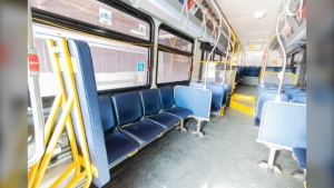 The curbside priority seating area on a Winnipeg Transit bus. (Source: Standing policy committee on infrastructure renewal and public works report)