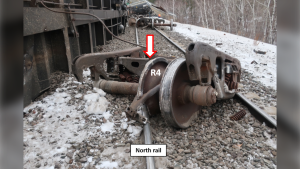 The train derailment was caused by a wheel fracture. (Source: Transportation Safety Board of Canada)