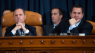 House Intelligence Committee Chairman Rep. Adam Schiff, D-Calif., left, and ranking member Rep. Devin Nunes, R-Calif., listen as they attend a hearing of the House Intelligence Committee on Capitol Hill in Washington, Wednesday, Nov. 13, 2019. (Saul Loeb/Pool Photo via AP)