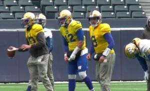 Zach Collaros prepares to take a snap at practice