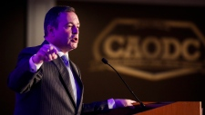 Alberta Premier Jason Kenney speaks at the Canadian Association of Oilwell Drilling Contractors meeting in Calgary, Alta., Wednesday, Nov. 13, 2019. (The Canadian Press/Jeff McIntosh)