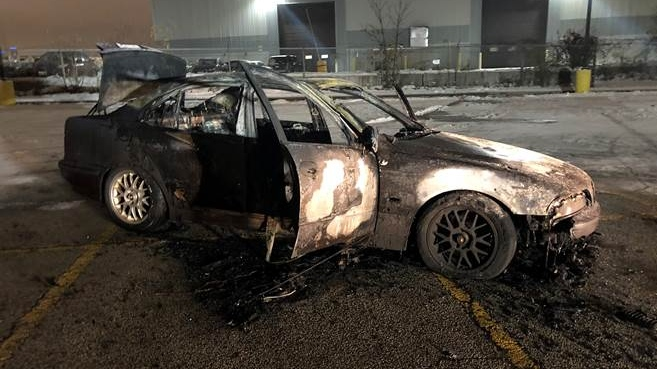 Police investigating after car doing donuts catches fire in Mississauga