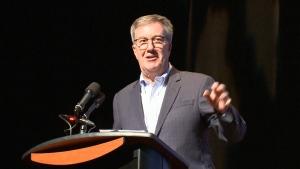 Mayor Jim Watson made light of chronic LRT problems at an event in Ottawa Wednesday night. (CTV Ottawa, November 13, 2019)