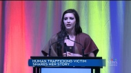 A victim of human trafficking who feared for her life once in Winnipeg returned to the city to give credit to those who helped her.