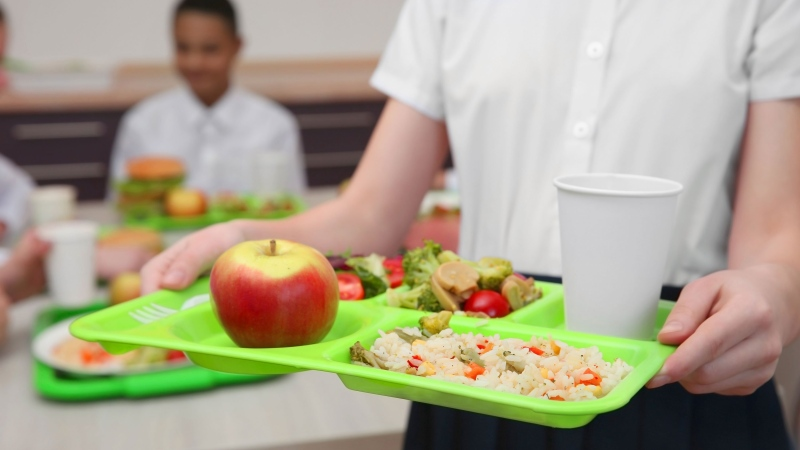 A child is seen caring a tray in a school cafeteria in this undated file photo.