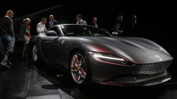 The Ferrari Roma car is unveiled in Rome, on Nov. 14, 2019. (Fabio Frustaci / ANSA via AP)