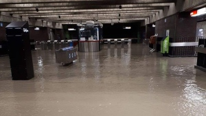 Service has been cut on the Montreal Metro's orange line between the Lionel-Groulx and Berri-UQAM stations due to water infiltration.
