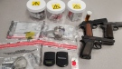 Police say they seized suspected drugs and replica firearms during a warrant on Ferguson Avenue. (Waterloo Regional Police Service / Facebook)