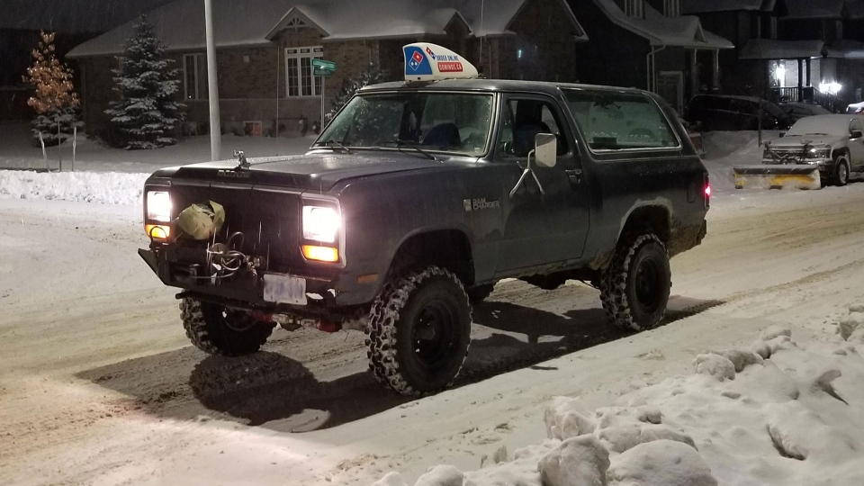 This photo of a pizza delivery man's 1987 Dodge Ram Charger went viral after it was posted online. (Adrian Azcurra)