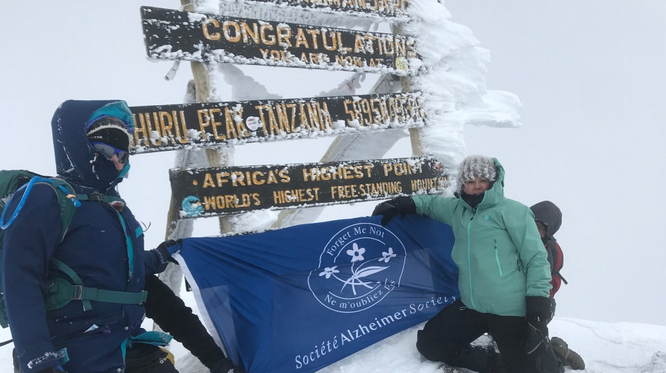 Alzheimer's Society London and Middlesex CEO Carol Walters and board member Wendy Thompson stand atop Mount Kilimanjaro. (Family photo)