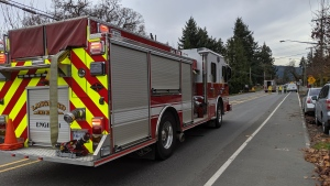 The Langford Fire Department and emergency crews respond to a gas leak on Goldstream Avenue: Nov. 14, 2019 (CTV News)