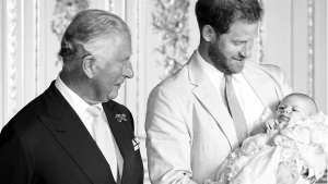 "Screengrab photo taken from the Instagram feed of Sussex Royal, part of a B/W photo showing, left to right, Britain's Prince Charles with Prince Harry and his son Archie, which was posted Thursday Nov. 14, 2019, with a message for the Prince of Wales' 71st birthday saying ""Happy birthday to His Royal Highness The Prince of Wales - Sir, Pa, Grandpa!"". (Chris Allerton/Instagram SussexRoyal via AP)"