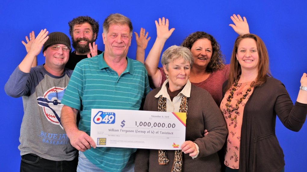 A group of six celebrating an OLG lottery win