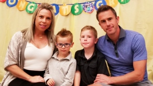 Graham McDonald and Rebecca Real are seen with their two children in this photo. (Supplied)