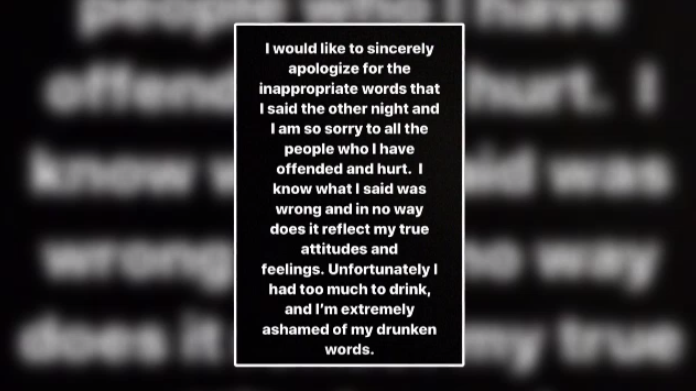 An apology posted to social media