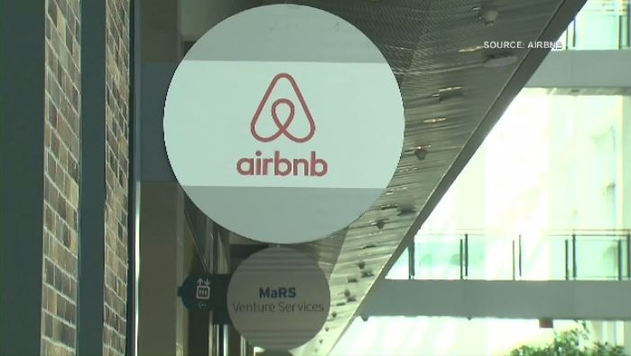 Airbnb logo is shown in this file photo.