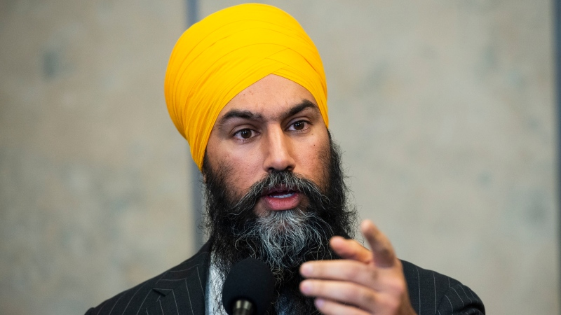 NDP leader Jagmeet Singh speaks to reporters following a meeting with Prime Minister Justin Trudeau on Parliament Hill in Ottawa on Wednesday, Nov. 13, 2019. THE CANADIAN PRESS/Sean Kilpatrick