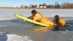 Firefighters prepare to deal with thin ice