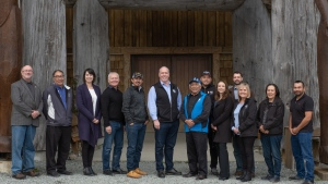 John Horgan and several other officials visited the Huu-ay-aht First Nation in Anacla, B.C., travelling down Bamfield Main Road - on which two University of Victoria students died in a bus crash in September - to get there. (Munro Thompson Communications)