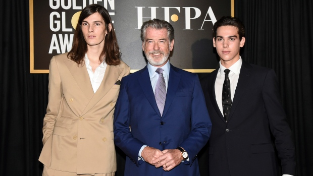 Dylan Brosnan, from left, Pierce Brosnan, and Paris Brosnan attend the Hollywood Foreign Press Association and The Hollywood Reporter celebration of the 2020 award season and Golden Globe Ambassador reveal at Catch LA on Thursday, Nov. 14, 2019, in West Hollywood, Calif. (Photo by Dan Steinberg/Invision/AP)
