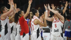 Canada celebrates their win over Cuba during second half action of FIBA Women's Olympic Pre Qualifying Tournaments Americas 2019, in Edmonton, Alta., on Thursday November 14, 2019. THE CANADIAN PRESS/Jason Franson