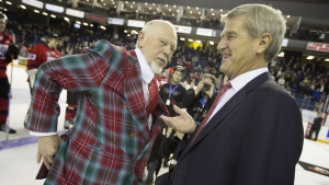 Don Cherry and Bobby Orr in St. Catharines, Ontario on January 22, 2015. (Peter Power / THE CANADIAN PRESS)