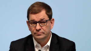 In this Wednesday, March 21, 2018 file photo then member of the board of the German car manufacturer BMW, Markus Duesmann, attends a press conference in Munich, Germany. (AP Photo/Matthias Schrader, file)