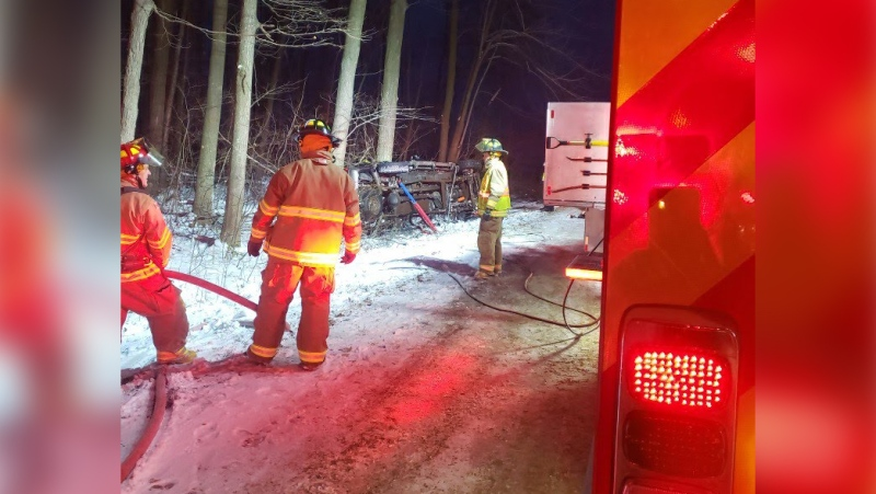 The West Perth Fire Department works at the scene of a deadly crash north of St. Marys, Ont. on Friday, Nov. 15, 2019. (Source: Perth County OPP)