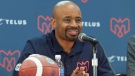 Montreal Alouettes head coach Khari Jones smiles as he attends an end of season news conference in Montreal, Friday, Nov. 15, 2019. THE CANADIAN PRESS/Graham Hughes