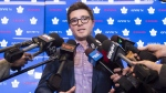 Toronto Maple Leafs General Manager Kyle Dubas speaks to the media in Toronto on December 3, 2018. (Nathan Denette /  THE CANADIAN PRESS)