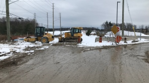 An early blast of winter has construction crews halted on Fairview Road in Barrie on Fri., Nov. 15, 2019 (Aileen Doyle/CTV News)
