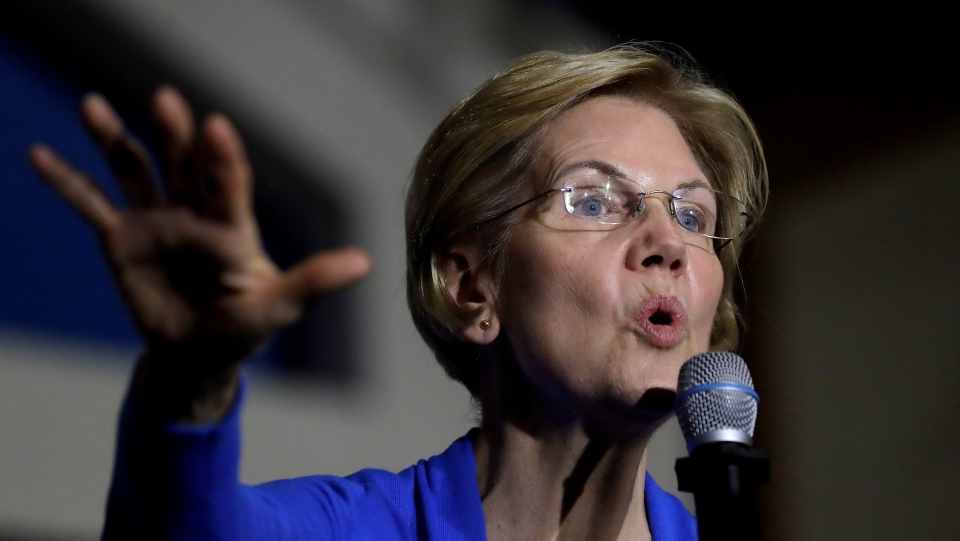 In this Nov. 11, 2019 file photo, Democratic presidential candidate Sen. Elizabeth Warren, D-Mass., addresses an audience during a campaign event in Exeter, N.H. (AP Photo/Steven Senne, File)