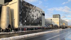 Hundreds line up for CRA job fair at the Shaw Centre in Ottawa on Nov. 15, 2019.