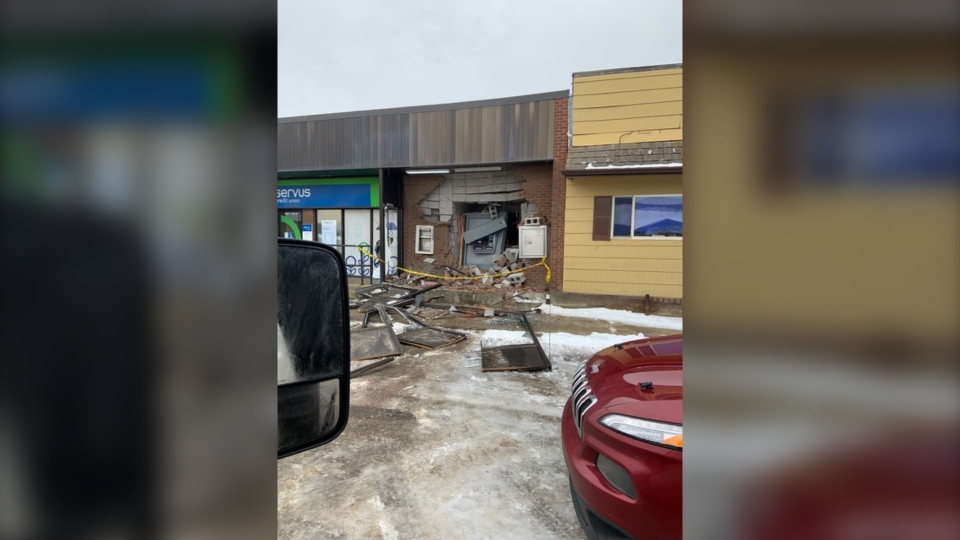 RCMP said a stolen semi-tractor was backed into the building around 5:30 a.m. on Nov. 15, 2019. (Photo provided.)