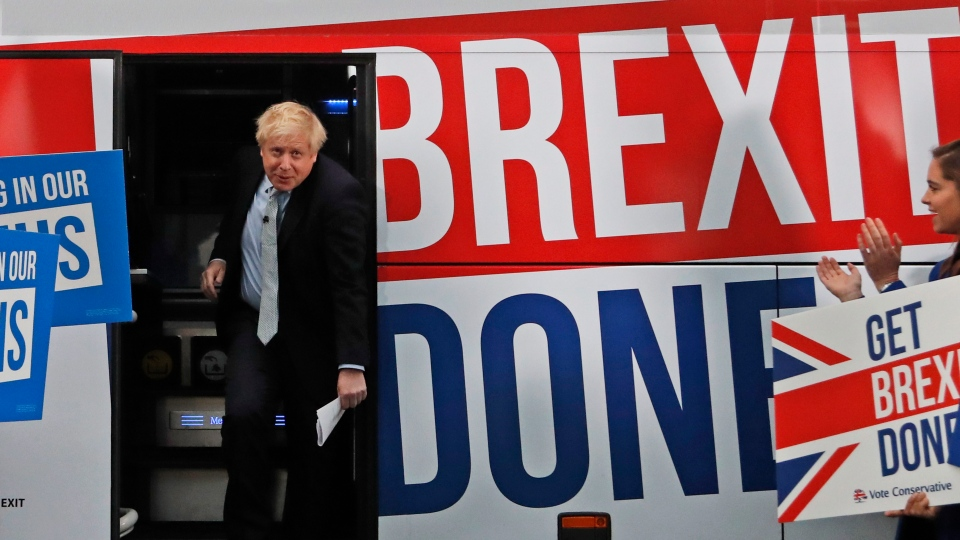 Britain's Prime Minister Boris Johnson addresses his supporters prior to boarding his General Election campaign trail bus in Manchester, England, Friday, Nov. 15, 2019. (AP Photo/Frank Augstein, Pool)