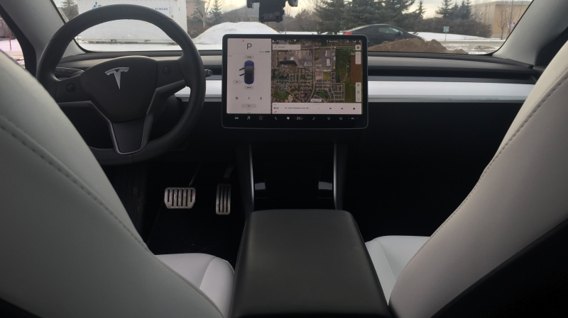 The interior of the Tesla Model 3 is pictured here. (Michaela Solomon / CTV News Regina)